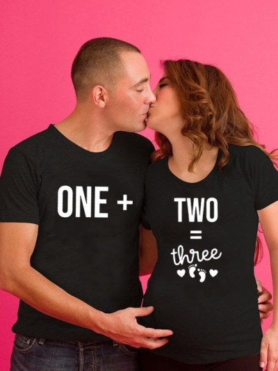 One Plus Two Three Mommy Daddy Pregnancy Announcement Tee