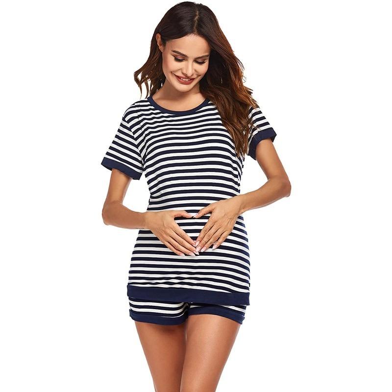 Round Neck 2-piece Striped T-Shirt with Shorts Nursing Clothing Set