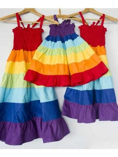 Rainbow Mother Daughter Matching Summer Dress
