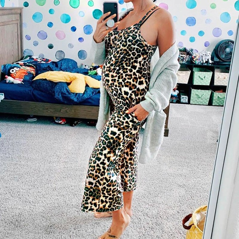 Leopard Print Overall Jumpsuit for Maternity