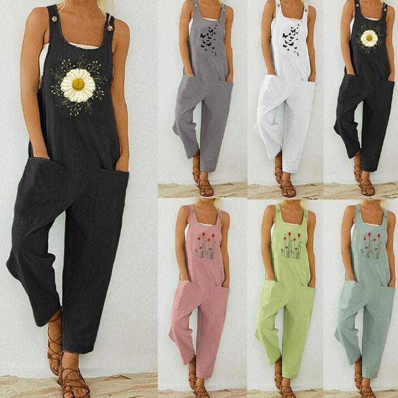 Applique Flowers Designing Plus Size Overall Rompers For Maternity