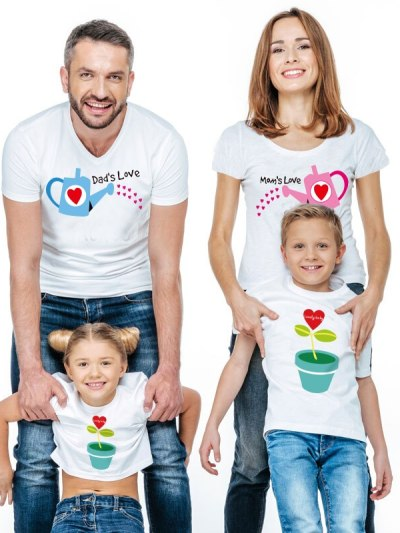 Mom Love Dad Love White Family T-Shirts