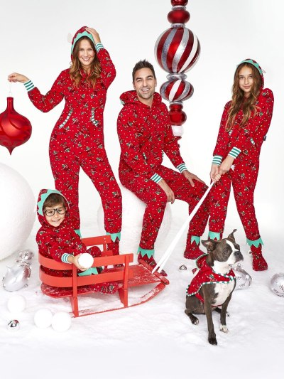 red matching family onesie pajamas for Christmas