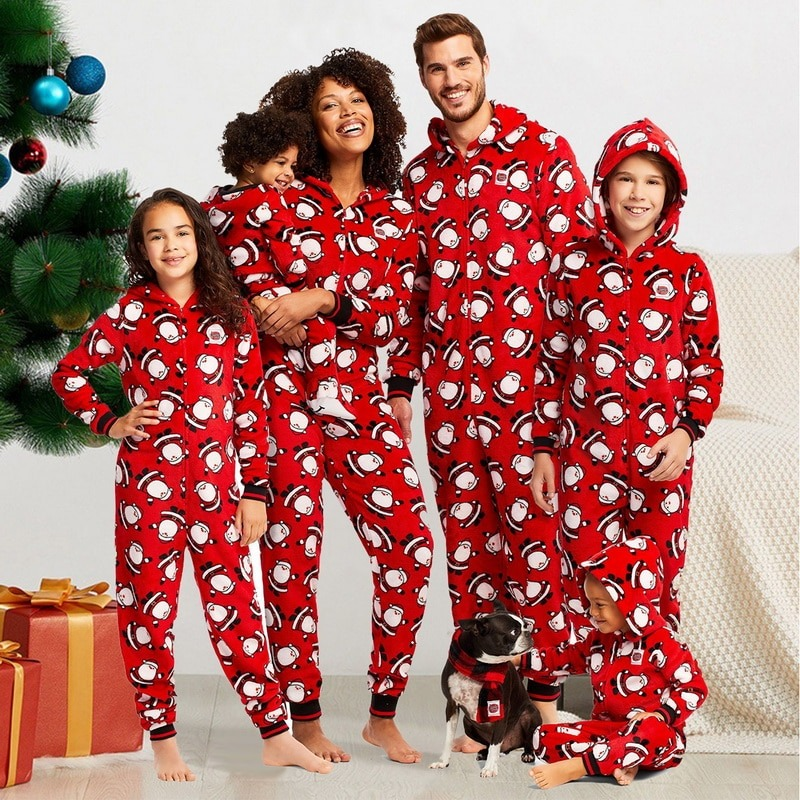 Hooded Zipper Santa Christmas Theme Red Pajamas
