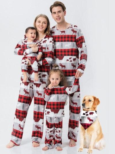 Reindeer Print Red Grey PJ Set for Holiday Season