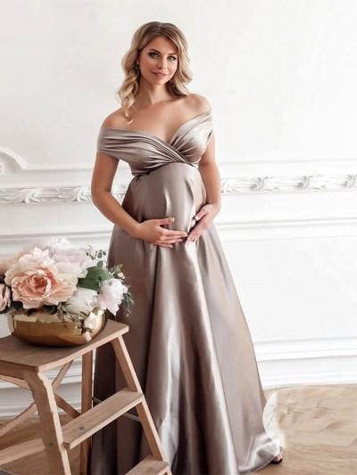 Silk Sweatheart Neck Maternity Photo Shoot Evening Party Dress