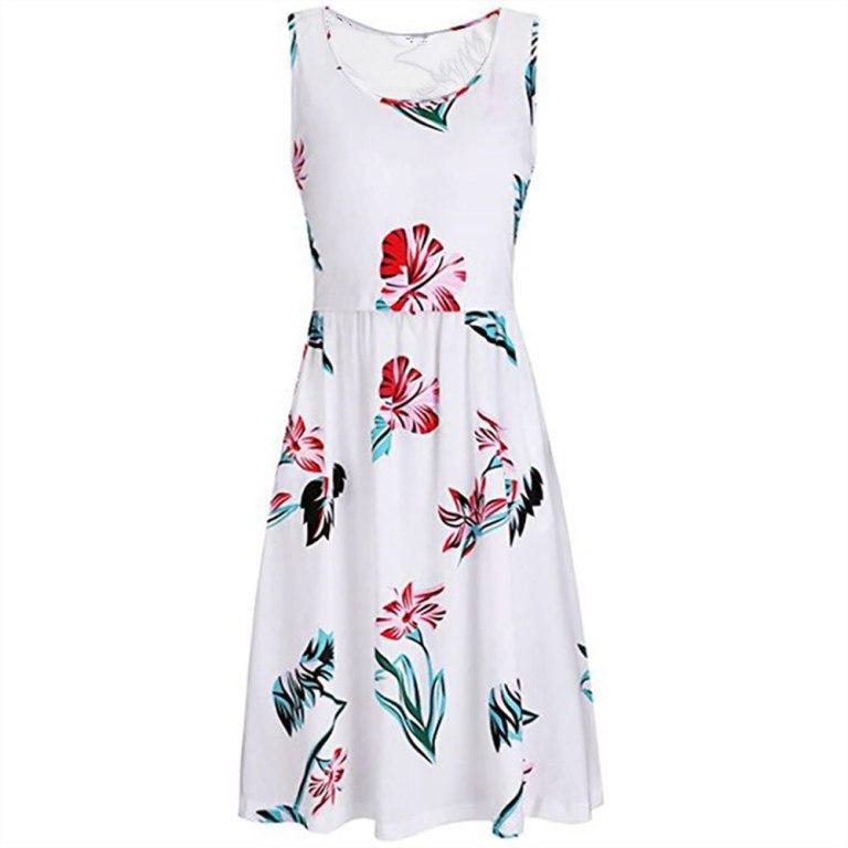 Sleeveless Floral Print Maternity Nursing Midi Dress