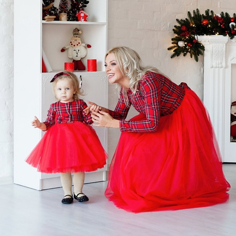 Mother Daughter Long Ball Red Plaid Christmas Party Dress