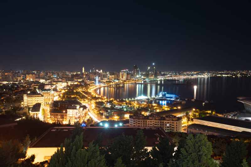Baku coastline at night