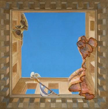Plafond peint en trompe l'oeil pour une entrée. www.fabiennecolin.com