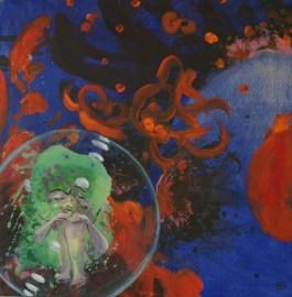 L'odyssée de l'espace - www.fabiennecolin.com Acrylique sur toile 80X80