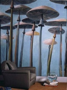 Décor peint pour les murs d'un salon.
