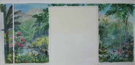 Esquisse pour l'autre mur de pignon d'un salon. Thème végétation luxuriante, fleurs et faune colorées.
