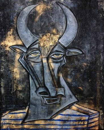 """Sur toile 4X5"""" (122X152 cm) Picasso est le minautore."""