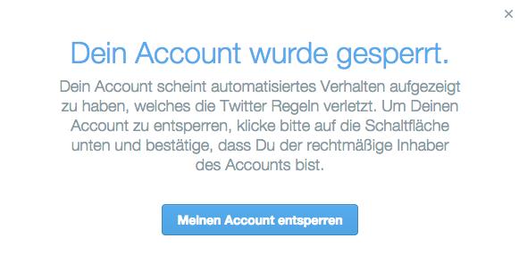 Dein Account wurde gesperrt