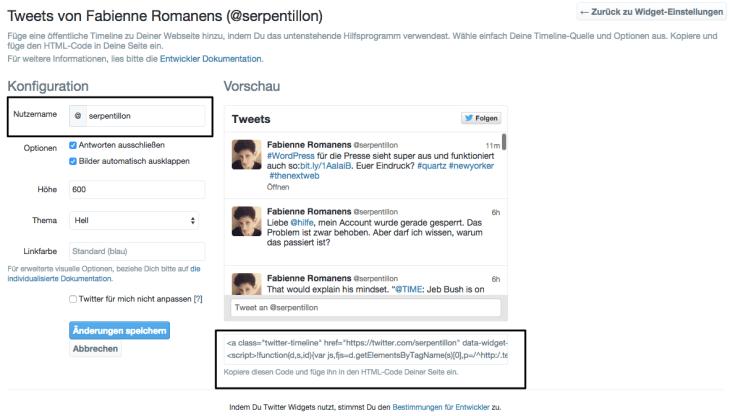 Konfigurator für Twitter-Widgets