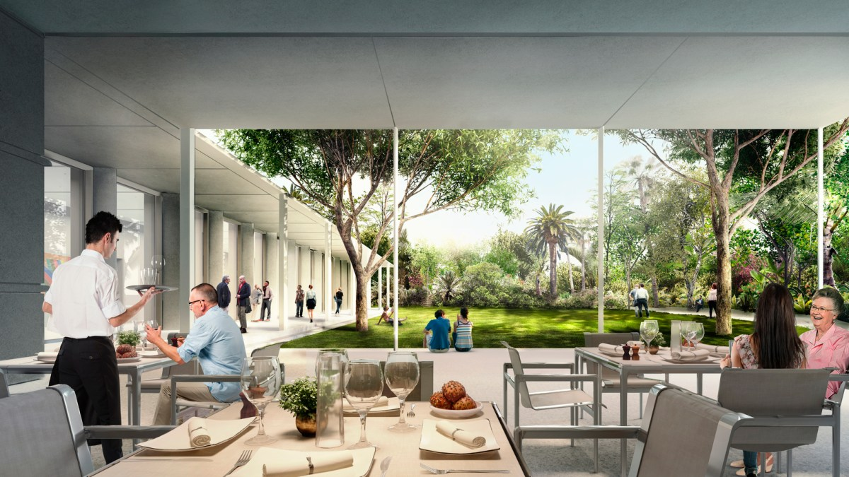 Ambiente externo do Restaurant at The Norton Museum of Art, em West Palm Beach. Foto Foster +Partners.jpg