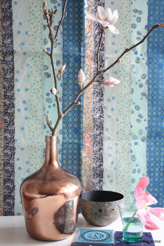 cobre, azul, arranjos, decoração