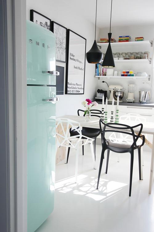 smeg, geladeira, azul claro