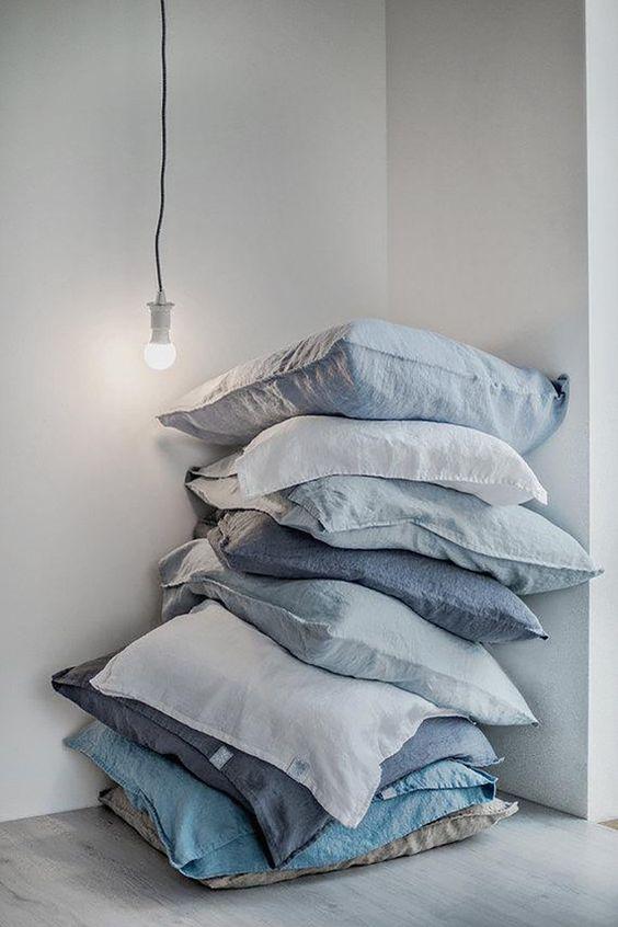 azul pastel, decoração, cama