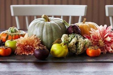 decoração com frutas e legumes