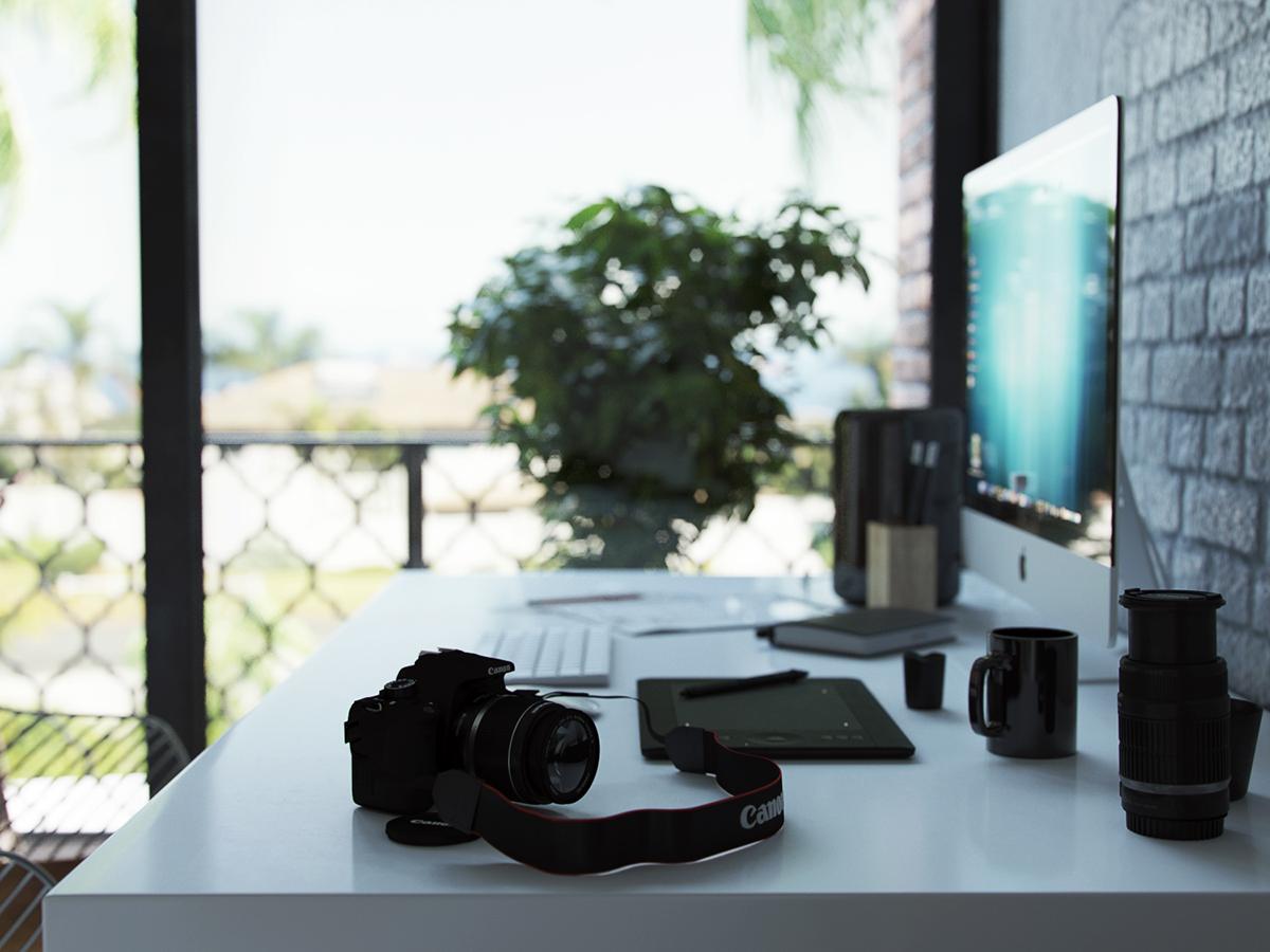 Decoração, escritório, quarto