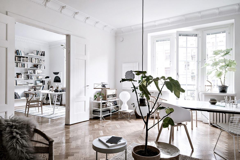 decoração escandinava, elementos naturais