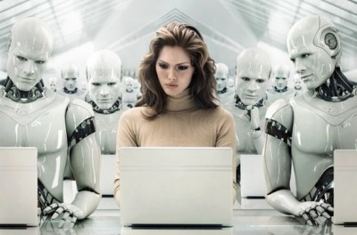 A woman in the robot office