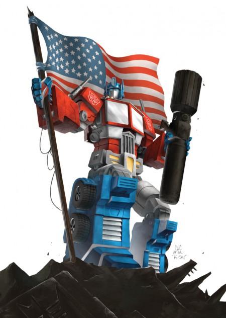 Optimus Prime waving an American Flag