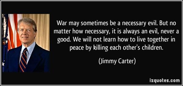 Carter talks about war