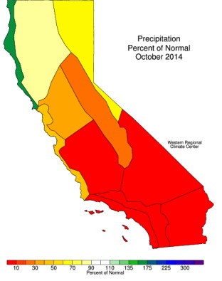 California precipitation: Percent Normal by region