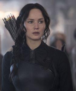 Katniss, played by Jennifer Lawrence