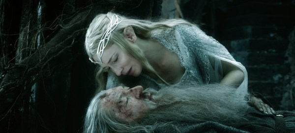 Cate Blanchett as Queen Galadriel and Ian McKellen  as Gandulf the Grey