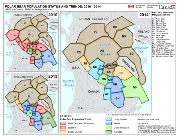Maps showing status of polar bears in Canada