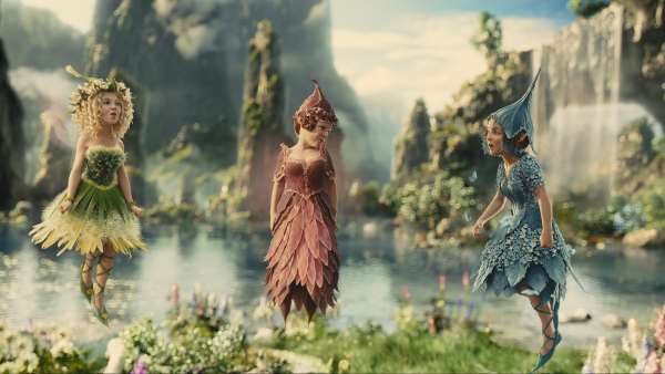 "Thistlewit, Knotgrass, and Flittle in Disney's ""Maleficent""."