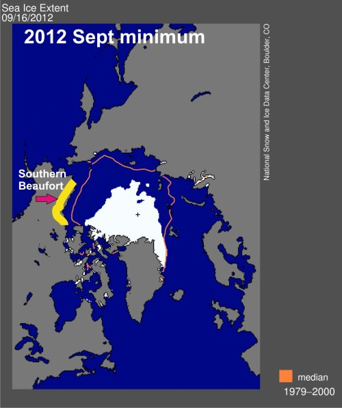 Minimum sea ice extent in 2012 of the Southern Beaufort Sea