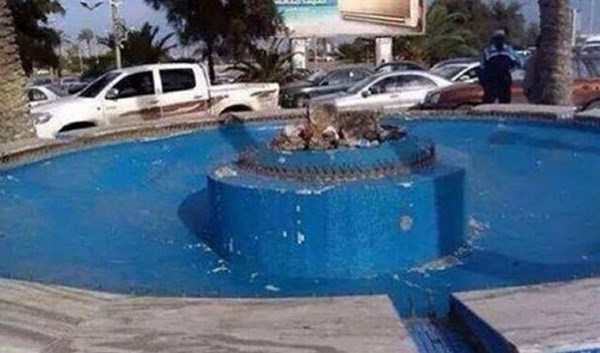 """What remains of """"The Bride Of The Sea"""" statue in Tripoli."""