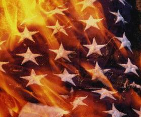 A flag burning