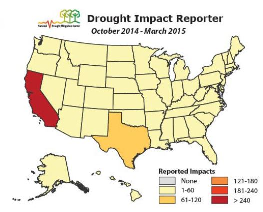 NOAA Dought Impact chart: October 2014 - March 2015