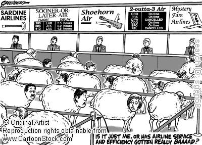 Airline passengers as cattle