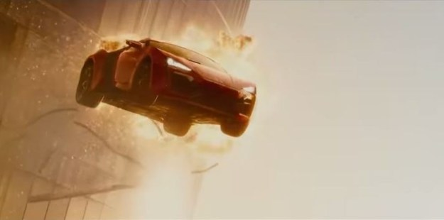 Car jumps from building in Fast and Furious 7