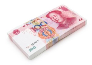 Stack of brand new RMB 100