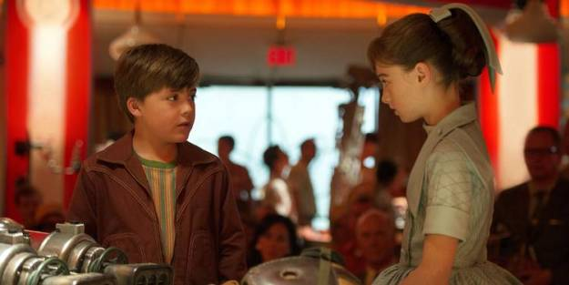 "Raffey Cassidy and Thomas Robinson in ""Tomorrowland"""