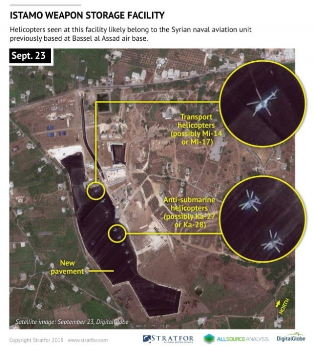 Russian or Syrian helicopters at base
