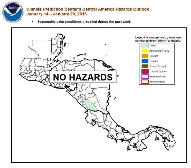 NOAA: Central America conditions, 14 January 2016
