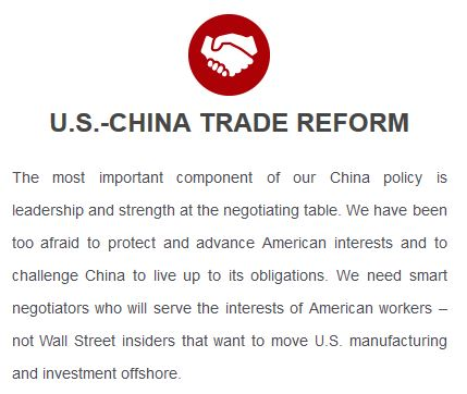 Trump platform: relations with China