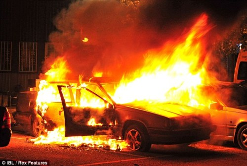 A car burns in Husby, Sweden in May 2013