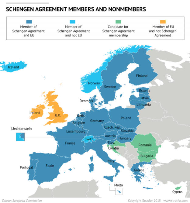 Map of Schengen treaty membership