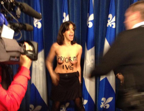 FEMEN protester at the Quebec National Assembly