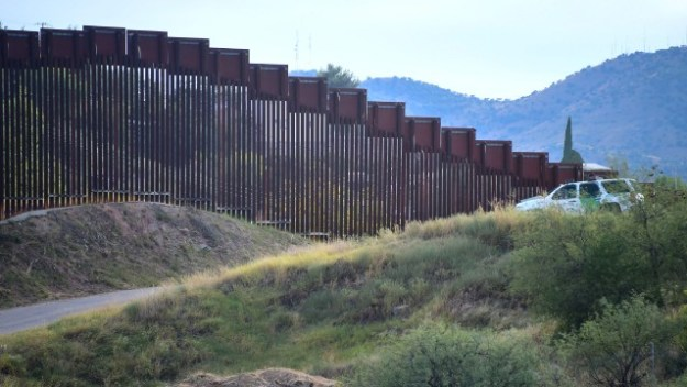 The wall along the border with Mexico